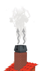 Square exodraft chimney fan mounted on brick chimney illustration